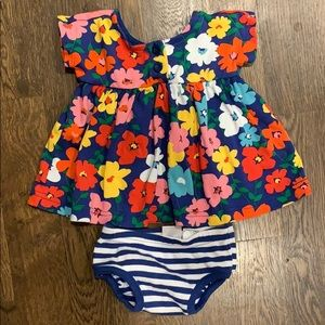 Hanna Andersson flower dress- size 60 (3-6 mths)